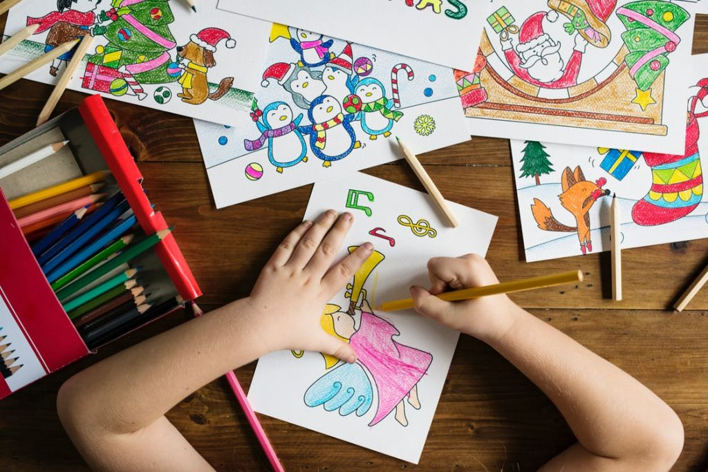 mum working from home tips - children have quiet play time